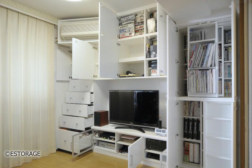 書棚とエアコンを組み込んだ壁面収納2