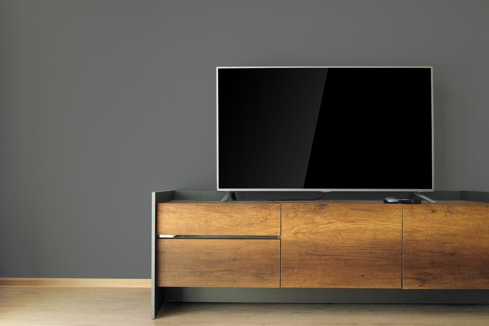 映画好き必見。大型テレビの壁面収納のインテリアコーディネート実例