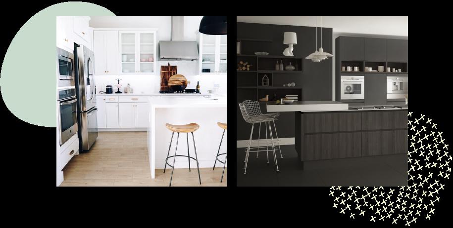 白と黒の食器棚はこのくらい印象が違う!