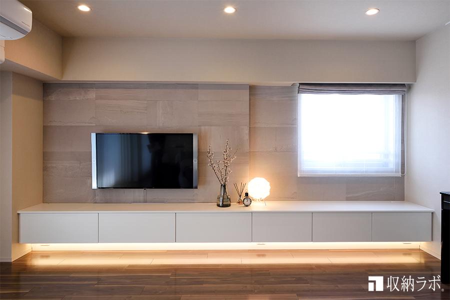 壁面が高級感を演出するリビング収納