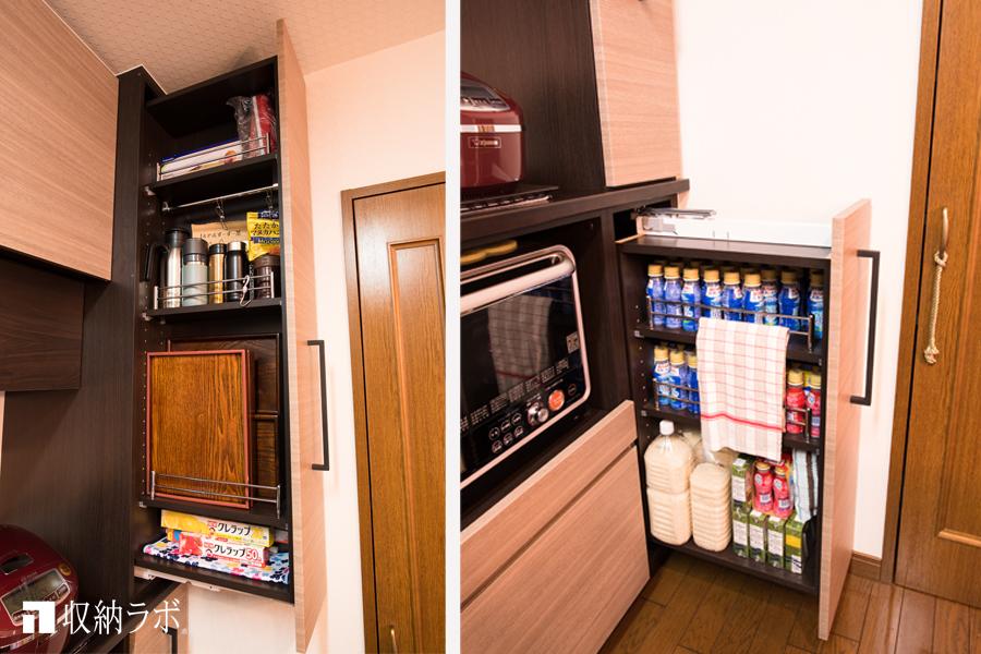 理想の収納を詰め込んだキッチンボードの事例