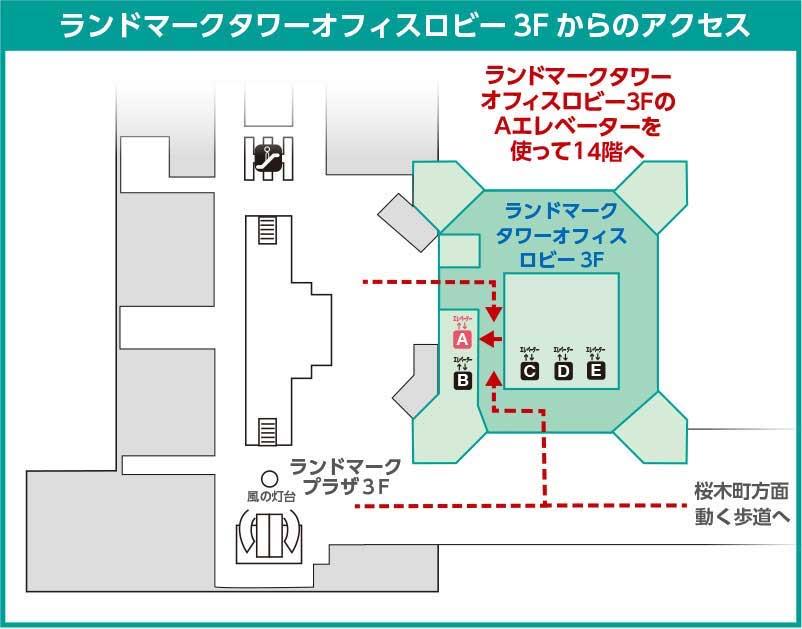 横浜ランドマークタワー1Fからのアクセス