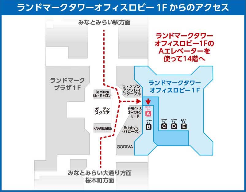横浜ランドマークタワー3Fからのアクセス