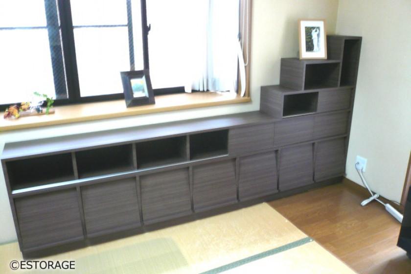 畳敷きの和室に合わせた飾れて仕舞える本棚