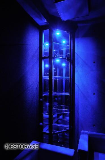 個性的なブルーライトの照明