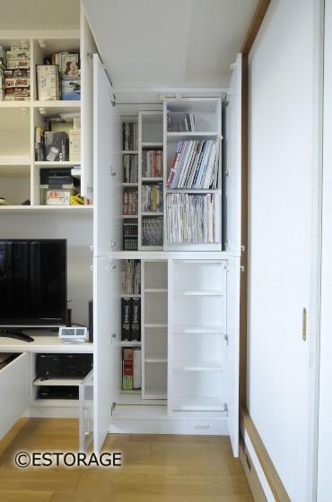書棚とエアコンを組み込んだ壁面収納6