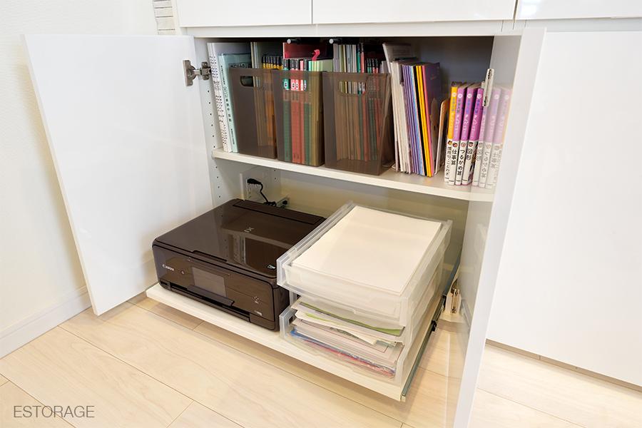 プリンターと書類の収納スペース