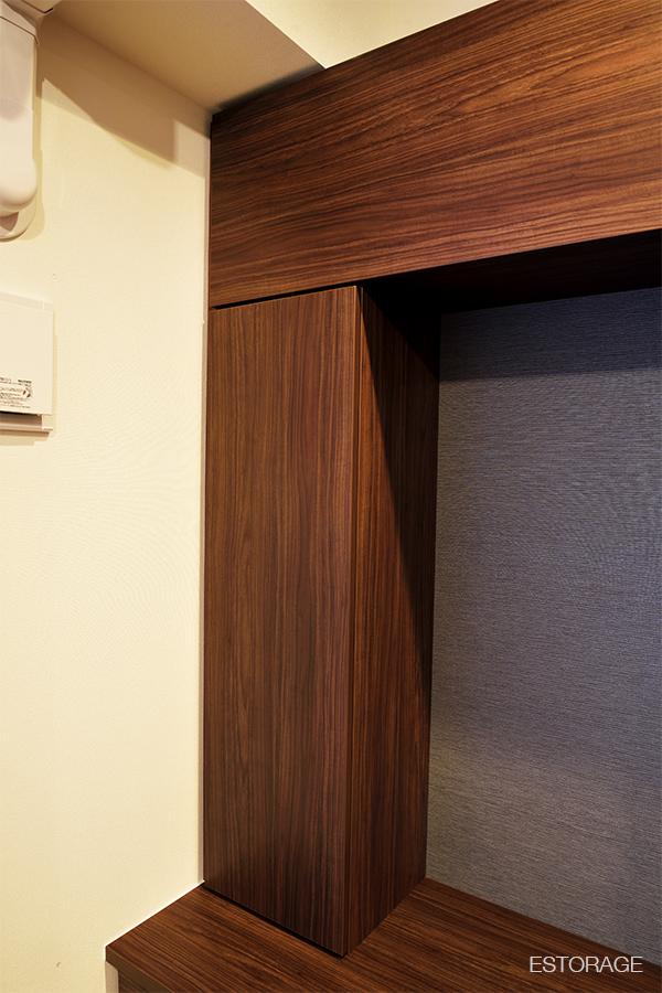 梁の位置に合わせて作った収納ボックス
