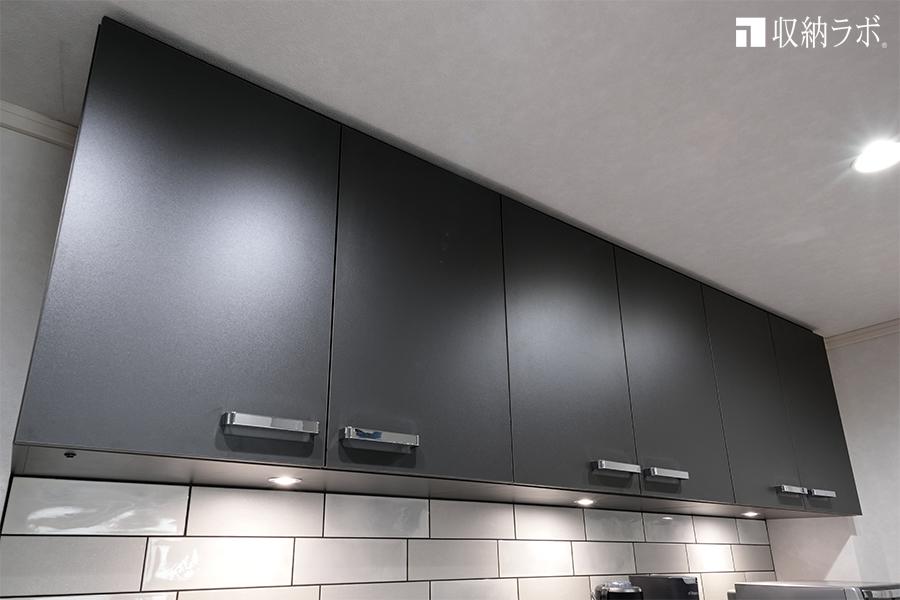 オーダーメイドのキッチン収納の上段収納ボックス