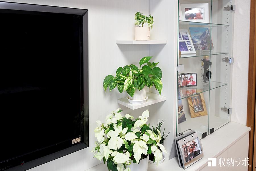 テレビの周りには、グリーンが飾れる飾り棚を。