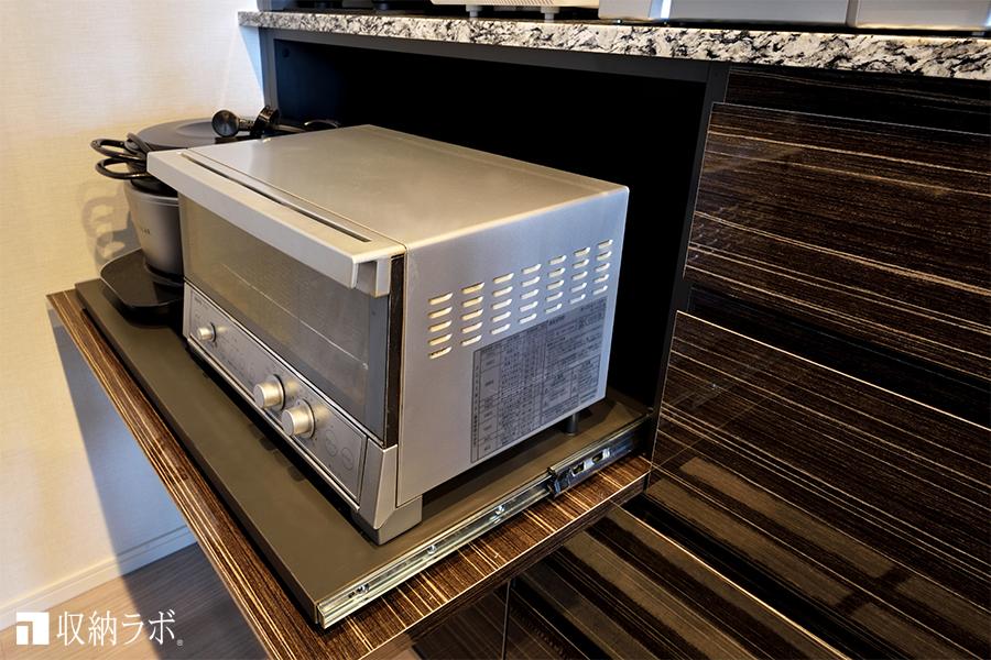 調理家電は、スライド棚に収納
