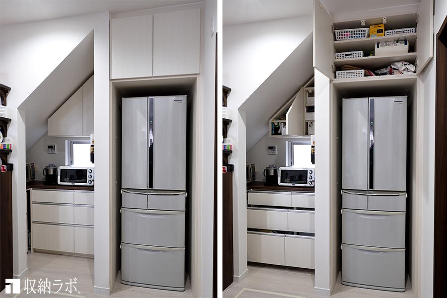 階段下のフリースペースに組み込んだオーダーメイドの食器棚。