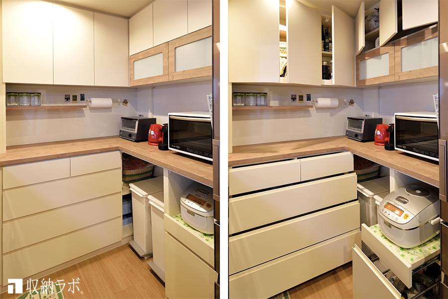 キッチンのコーナーを活かしたオーダーメイドの食器棚