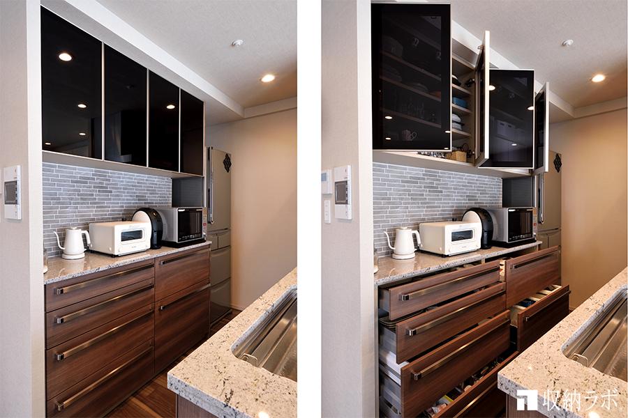 素材感にこだわったオーダーメイドの食器棚は、理想のキッチンを実現。