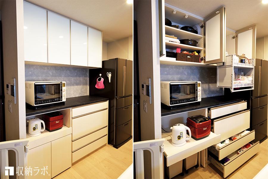 夫婦で使いやすい機能を盛り込んだオーダーメイドのキッチン収納