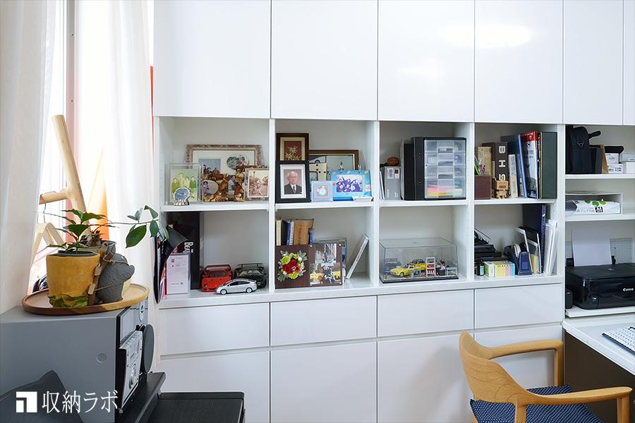趣味のコレクションや写真を飾れるスペース