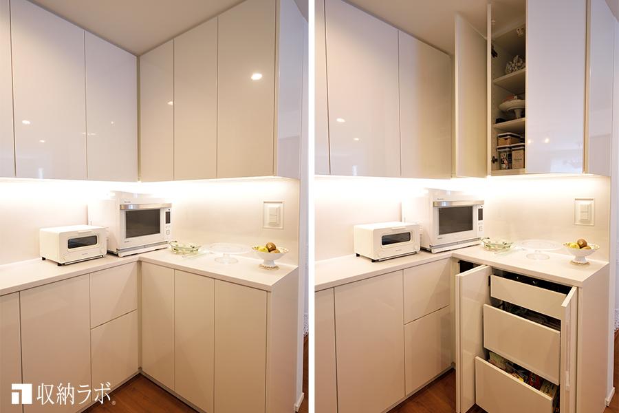 キッチンのコーナーを活かして作ったオーダーメイドの食器棚