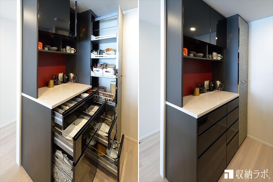 収納量とデザイン性を両立したオーダーメイドの食器棚