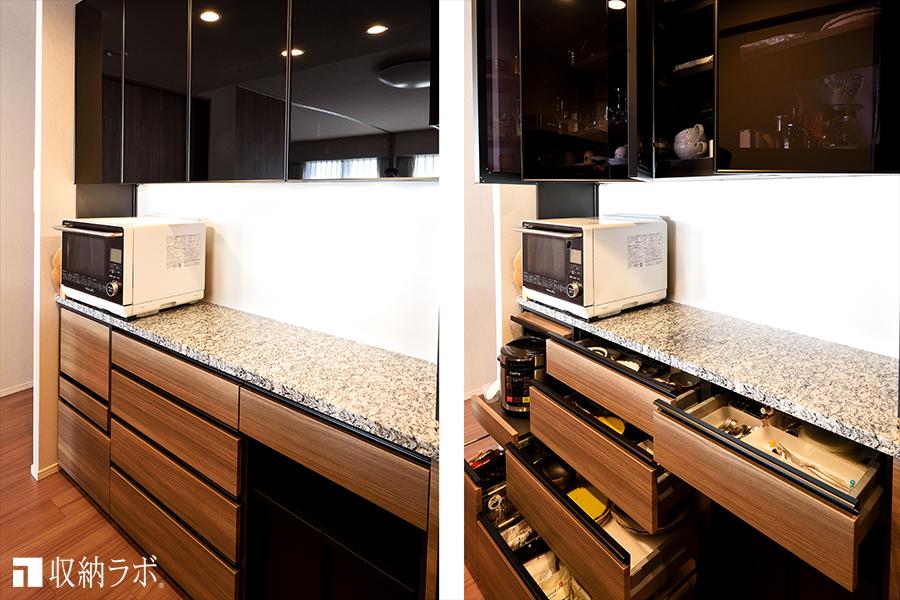 食器類や調理器具を収納するためのオーダーメイドした食器棚