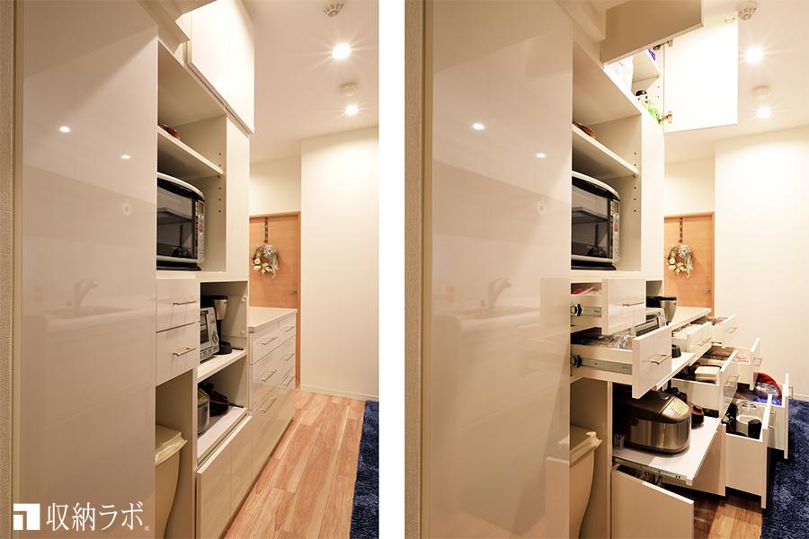 キッチン側には、機能的な収納のアイデアが満載。