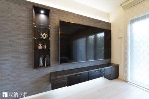 85インチのテレビが似合う、おしゃれなリビングダイニングを叶えたオーダー家具。