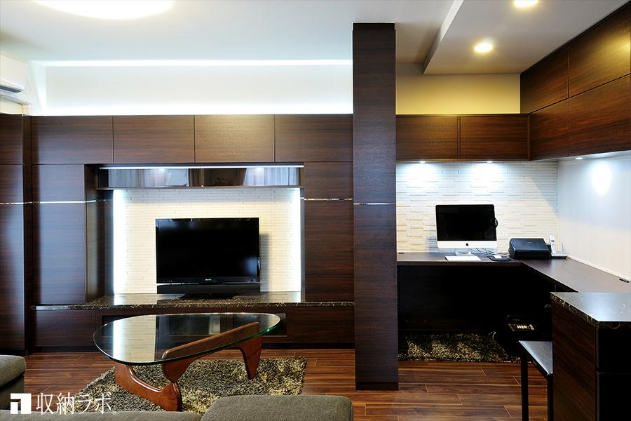 リフォームしたかのように、快適なリビングを実現したオーダー家具。