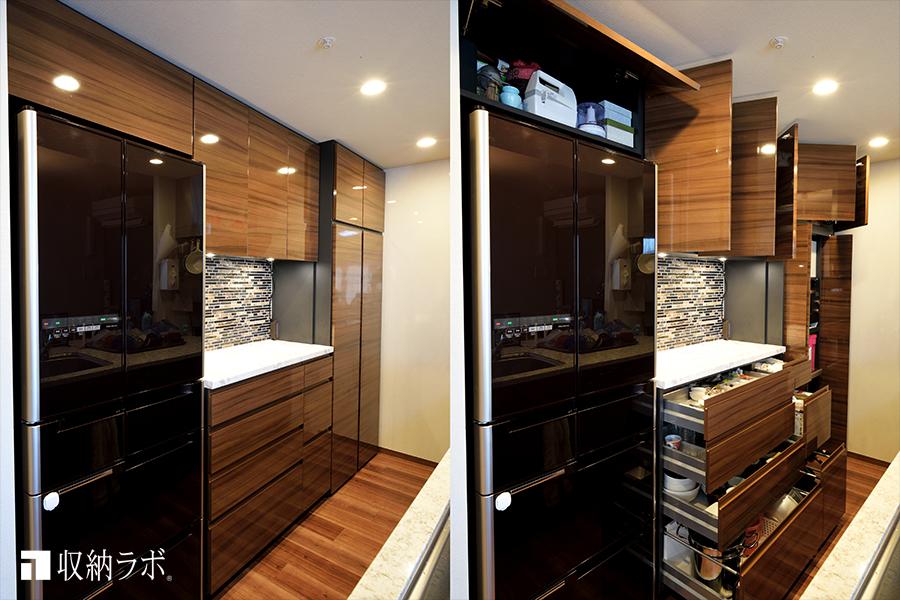 デットスペースのないキッチンを実現したオーダーメイドの食器棚