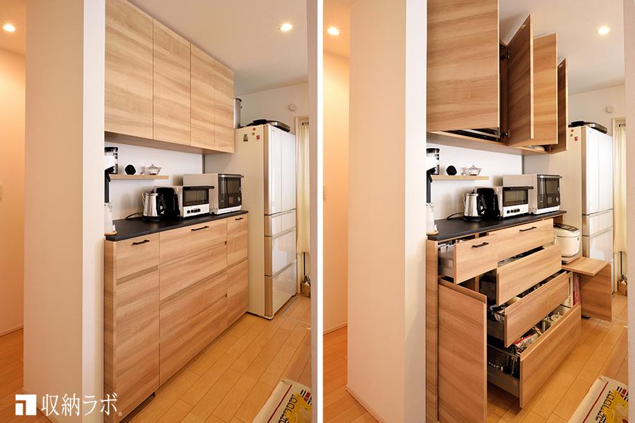 キッチンの収納と家事の動線を改善したオーダーメイドの食器棚