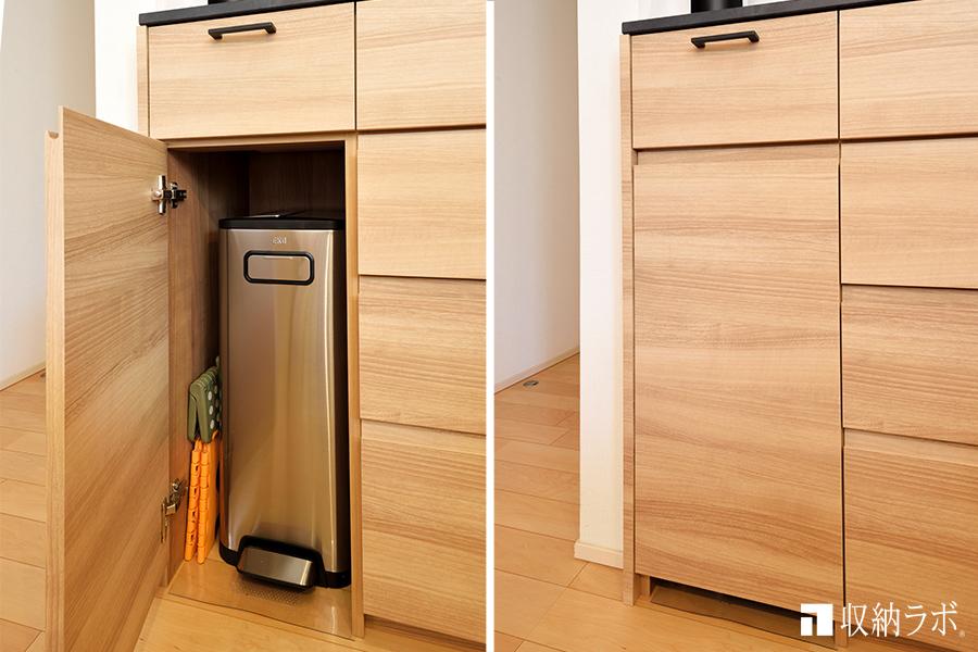 オーダーメイドの食器棚に作ったゴミ箱の収納スペース
