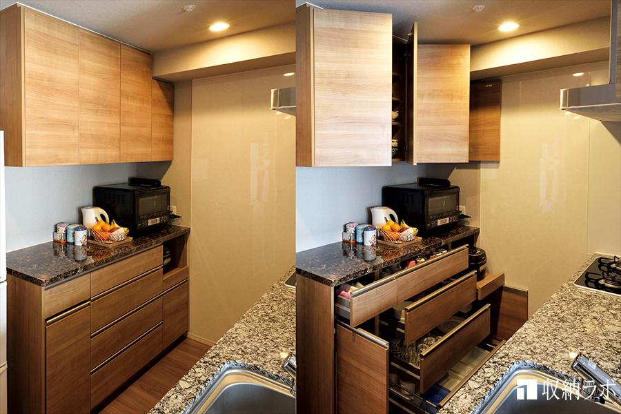 機能的な収納と、耐震施工で安心、快適なキッチンを実現した、オーダーメイドの食器棚。