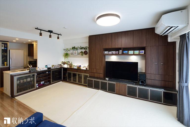 見せる収納と隠す収納のバランスに拘ったL字のオーダー家具