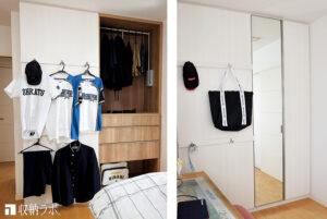 クローゼットを組み込んだ壁面収納で、子供部屋の間仕切りを実現。